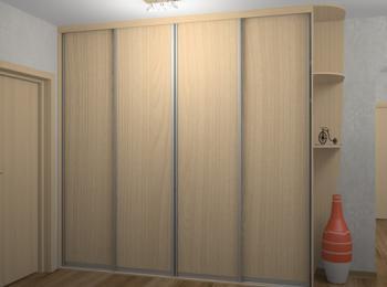 Шкаф-купе 009 из четырех створок из лдсп светлый дуб