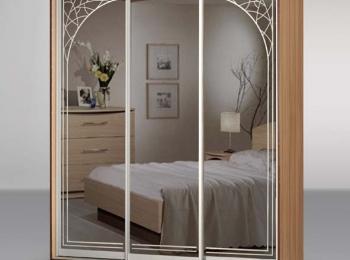 Шкаф-купе 019 с зеркальными створками с рисунком плетеных ветвей