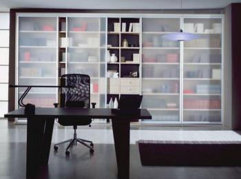 Книжный шкаф 002 с матовым стеклом