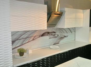 Кухонные шкафы 010 - 3Д фасад классический черно-белый