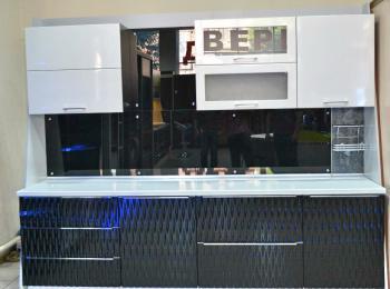 Кухонные шкафы 012 - 3Д фасад иссине-черный