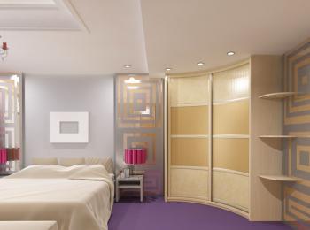 Радиусный шкаф-купе 013 в спальне
