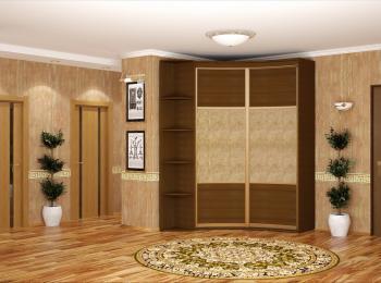Радиусный шкаф-купе 015 темное дерево с боковыми полочками