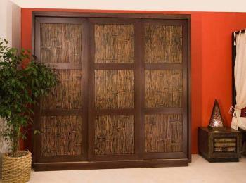 Шкаф-купе 028 с бамбуком и темной рамой створок