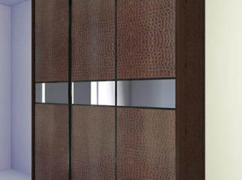 Шкаф-купе 030 коричневая кожа крупной фактуры
