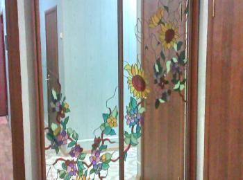 Шкаф-купе 045 двустворчатый с аэрографией цветов