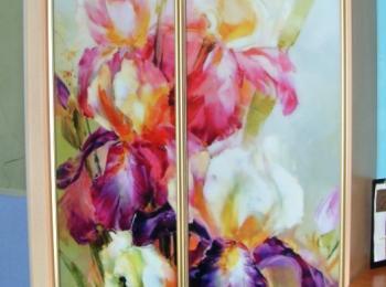Шкаф-купе 048 двустворчатый с фотопечатью цветов на акварели