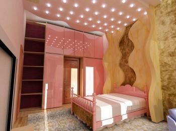Распашной шкаф 001 в розоватых тонах женской спальни