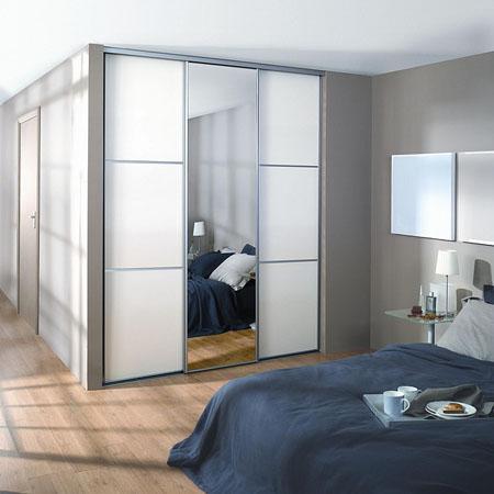 Встроенный шкаф-купе 001 для спальной комнаты в современном стиле