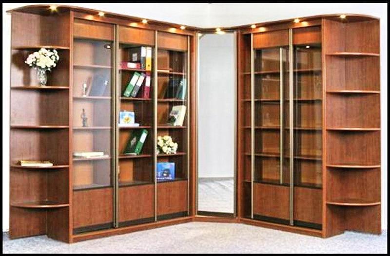 Книжный шкаф 003 с угловым зеркалом
