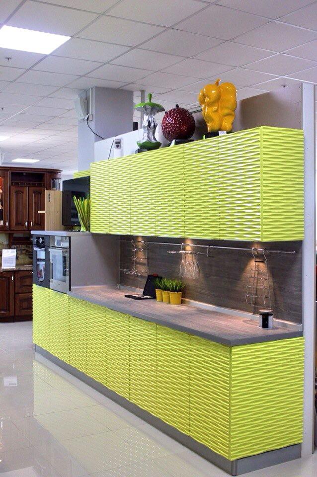 Кухонные шкафы 009 3Д фасад салатовый