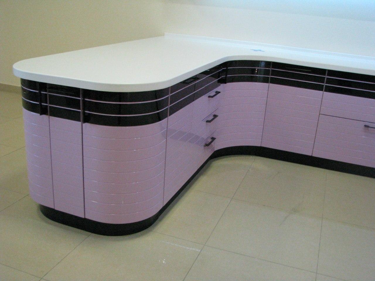 Кухонные шкафы 013 Лигна лилово-черный островок готовки