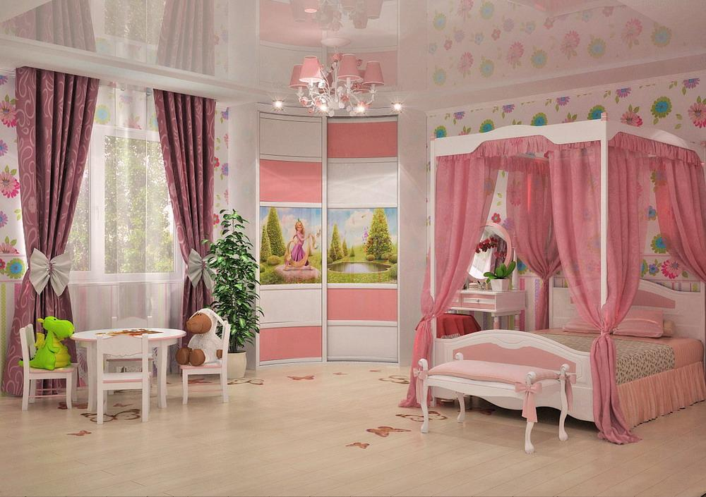 Радиусный шкаф-купе 012 в спальне принцессы