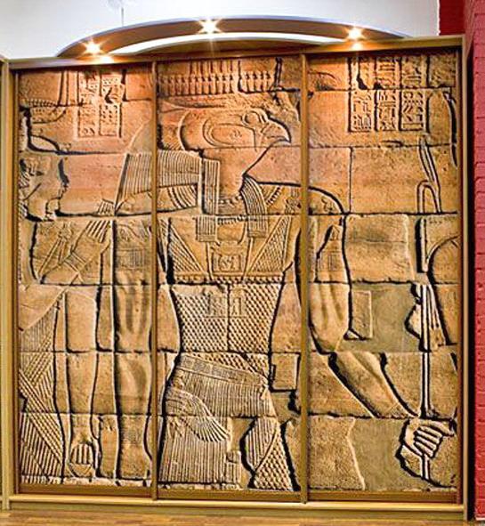 Шкаф-купе 032 трехстворчатый с фотопечатью Египетских фресок