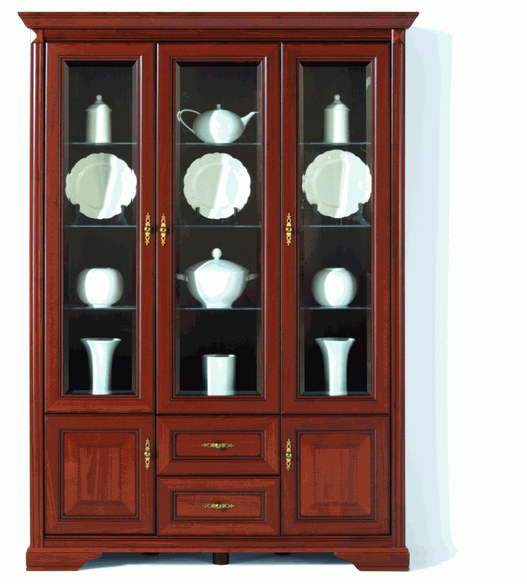 Распашной трехстворчатый шкаф 071 с витриной коллекции Стилиус.