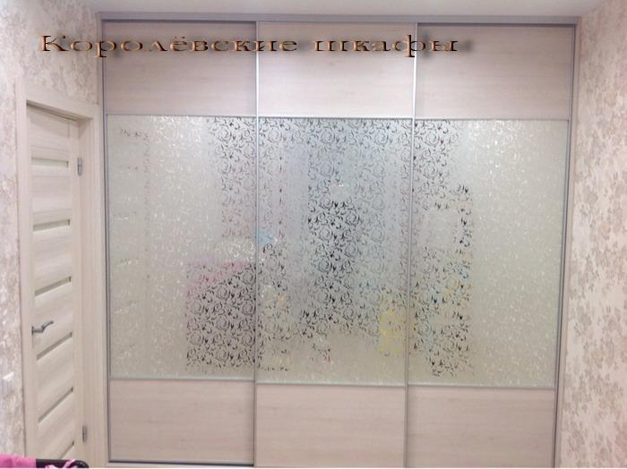 Шкаф-купе 097 светлый с пескоструйным рисунком на зеркалах