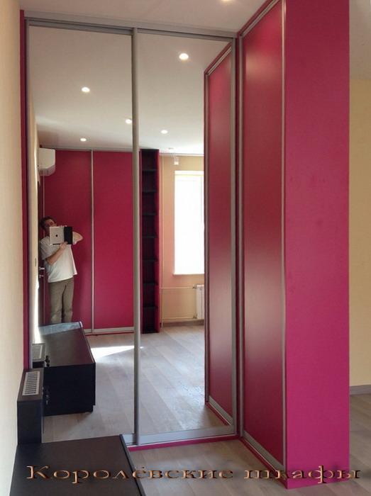 Шкаф-купе 100 малиново-розовый с зеркальными створками