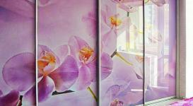 Встроенный шкаф купе 009 на 5 створок с фотопечатью лиловых цветов